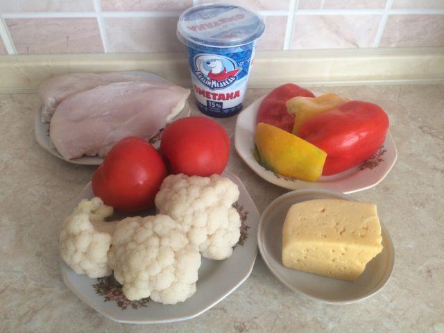 овощи, сыр,сметана